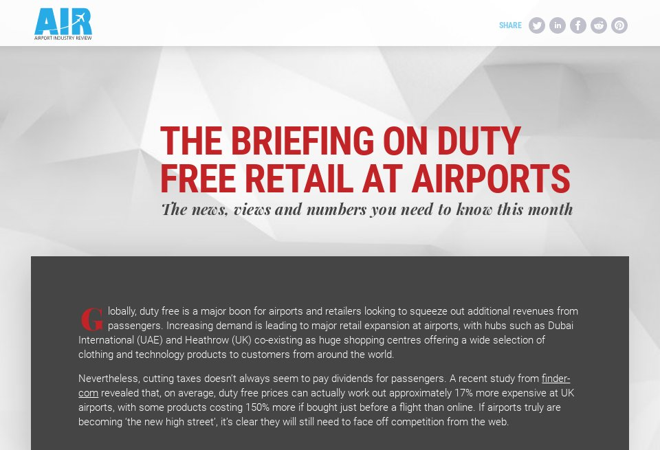 The briefing on duty free retail at airports - Airport
